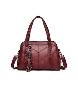 Solid Versatile Tassel Women Tote Bag