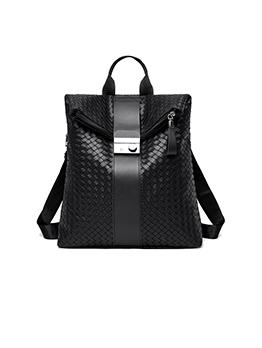 Preppy Style Weave Women Dual Shoulder Backpack