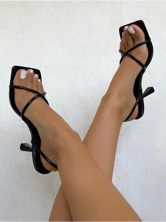 Summer Pure Color Versatile Heeled Sandals Women