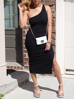 Fashion Inclined Shoulder Solid Midi Dress
