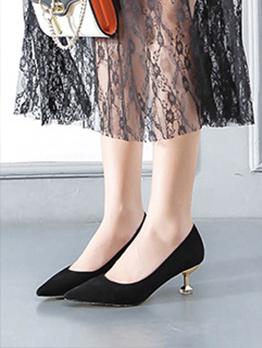 New Trend Pointed Solid Ladies Slip On Heels