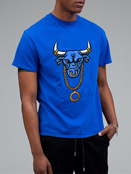 Cool Cattle Print Loose Graphic Tees Men