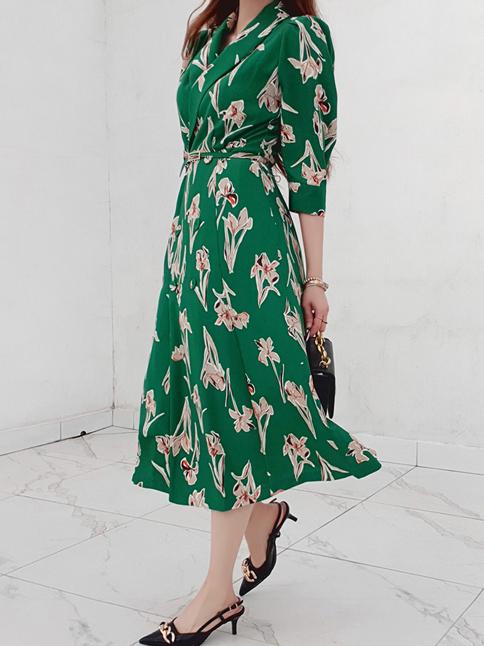 Business Work Temperament Women Stylish Green Dress