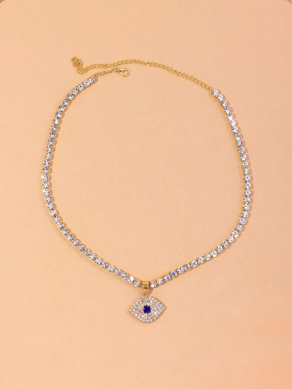 Full Rhinestone Devil's Eye Pendant Necklace