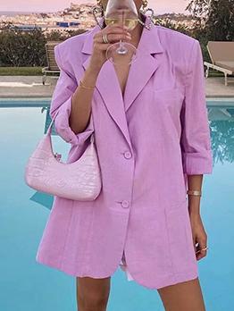 Fashion Solid Long Sleeve Lapel Blazer