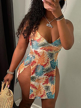 New Trend Printed Slit Backless Cami Mini Dress
