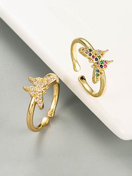 Simple Cute Butterfly Zircon Ring Women