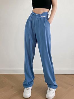 Summer Solid High Waist Loose Long Pants