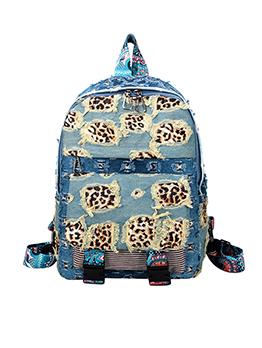 Travel Leopard Patchwork Denim Tassel Backpack