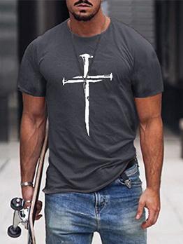 Casual Cross Print Loose Fitting Tee Shirt