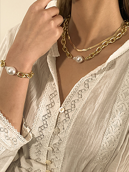 Faux-Pearl Necklace Bracelet Sets For Women
