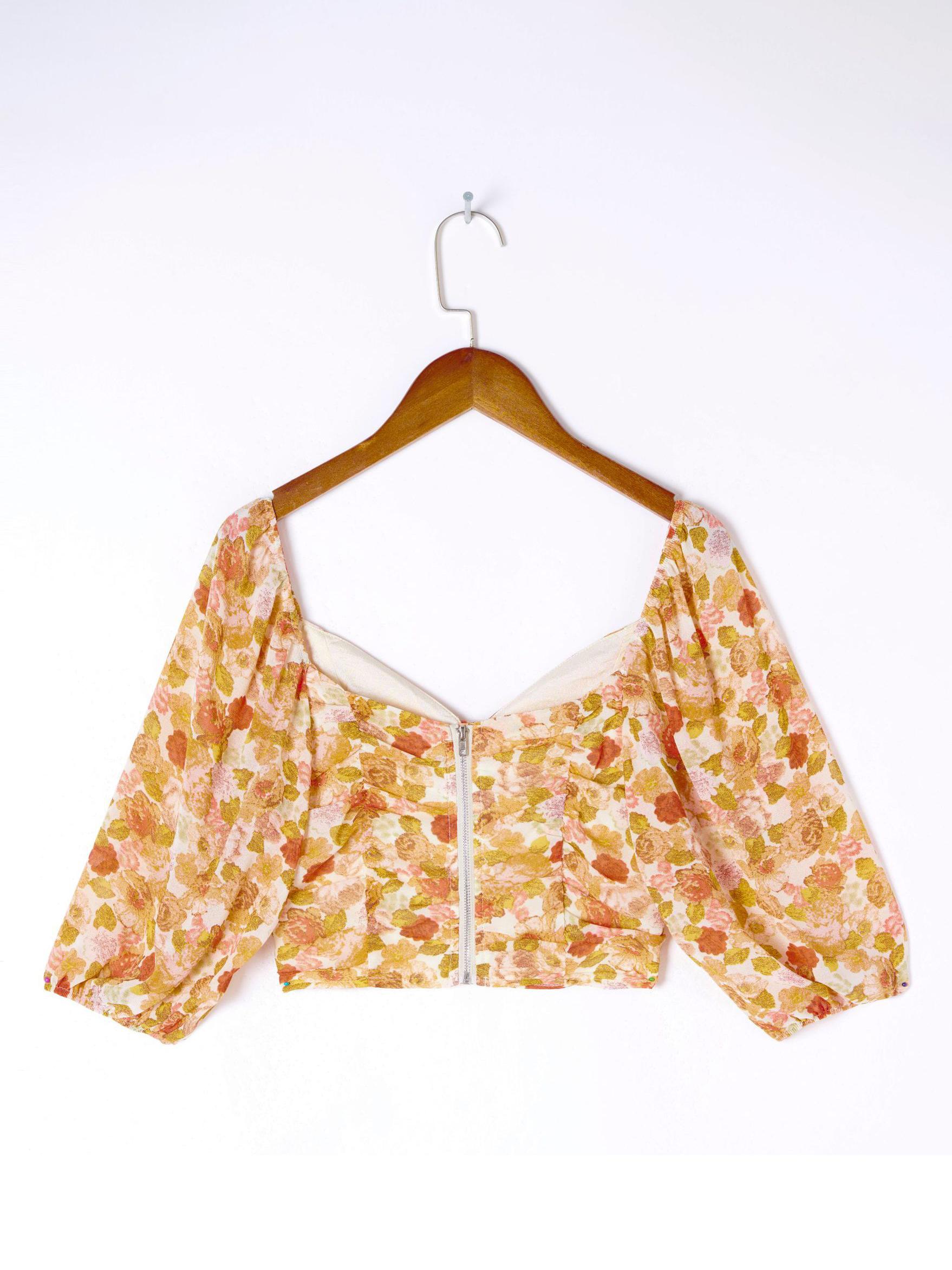 Vintage V Neck Ruched Floral Blouses For Women