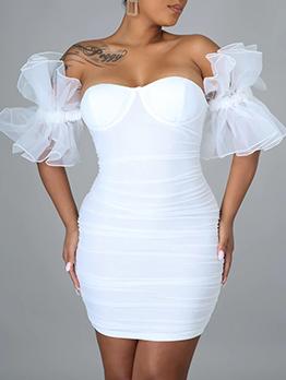 Charming Solid Patchwork Gauze Short Sleeve Dress