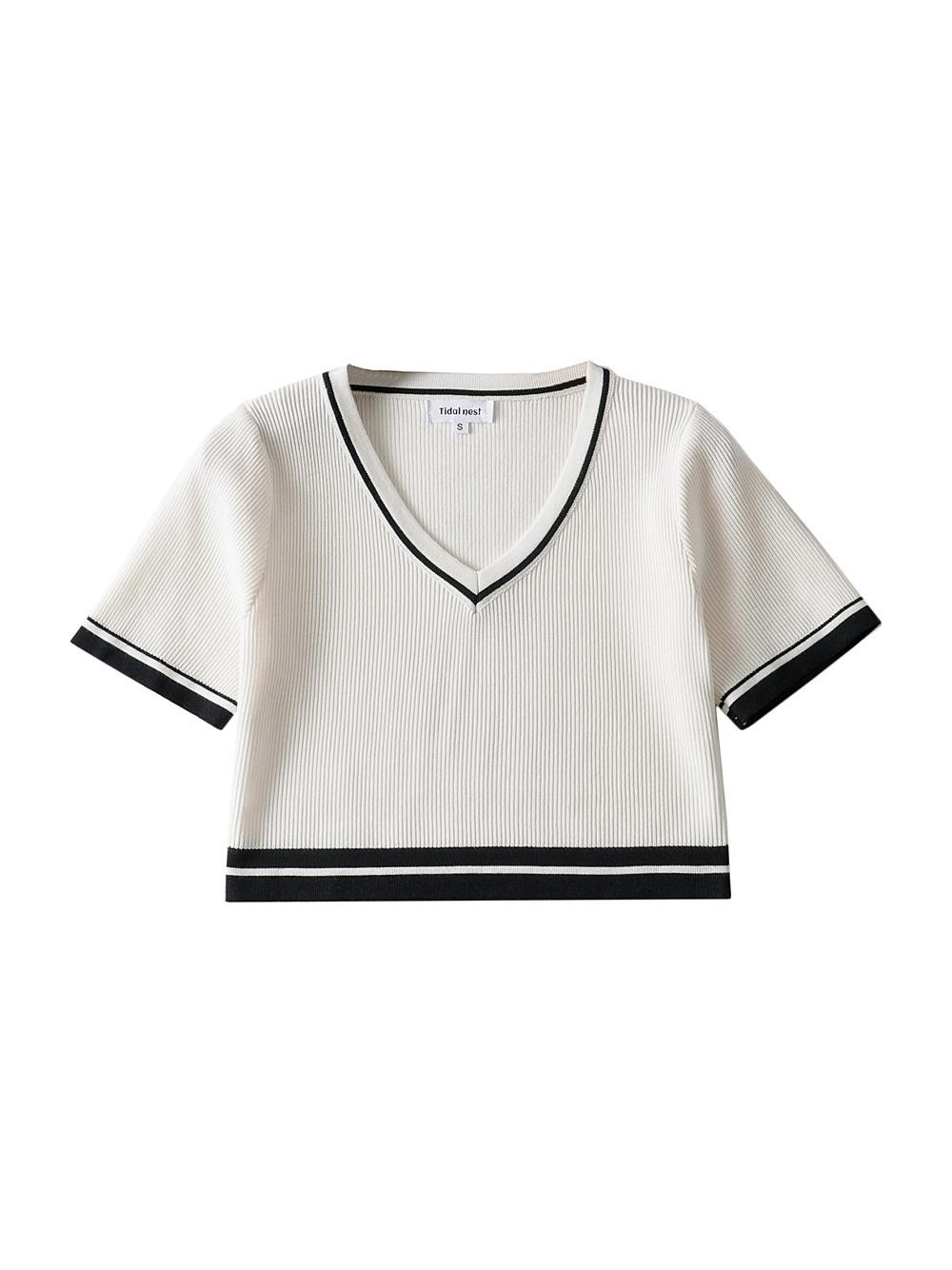 Contrast Color V Neck Knitted Short Sleeve Blouse