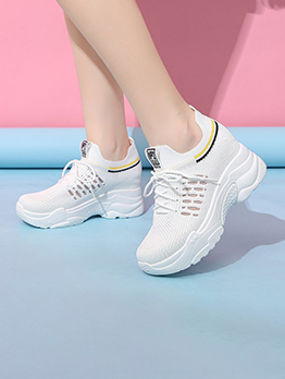 Breathable Round Toe Letter Height Increasing Shoes