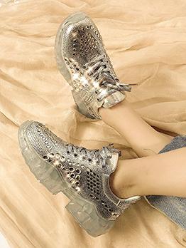 Glitter Rhinestone Round Toe Sneakers For Women