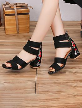 Vintage Embroidery Chunky Heel Ladies Summer Sandals