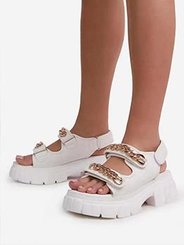 Fashion Chain Decor Height Increasing Ladies Sandal