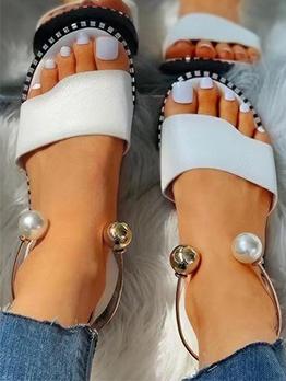 Summer Round Toe Beading Flat Sandals