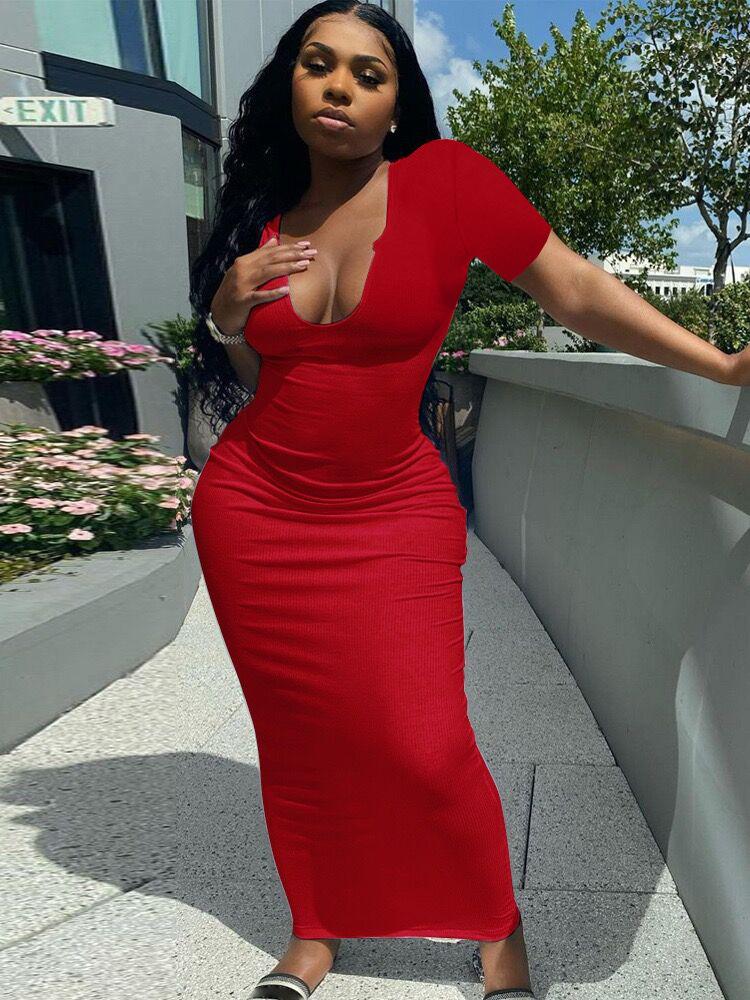 Seductive Solid Low-Cut Short Sleeve Maxi Dress