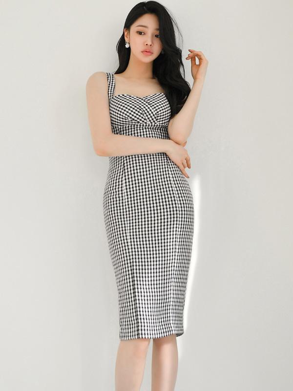OL Style Skinny Houndstooth Square Neck Dresses