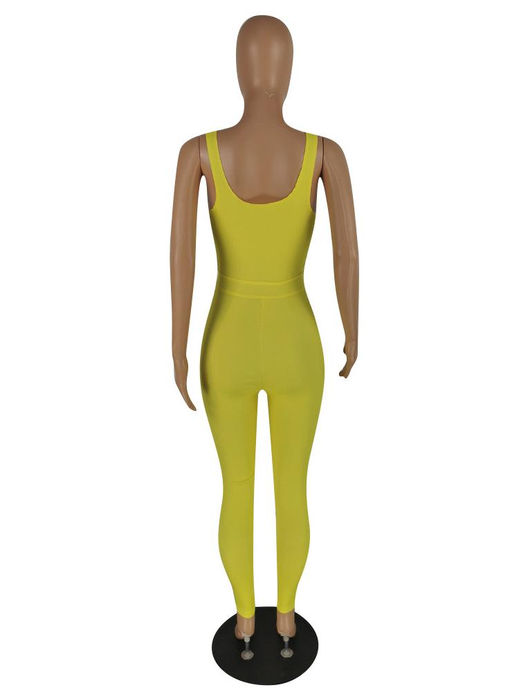 Casual Solid Zipper Tight Sleeveless Women Jumpsuit