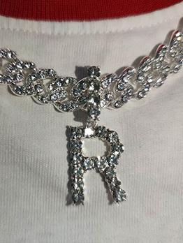 Letter Full Rhinestone Pendant Necklace For Unisex