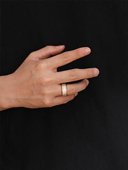 Fashion Hip Hop Geometry Zircon Ring For Unisex