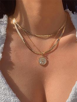 Solid Round Pendant 3 Piece Necklace Sets