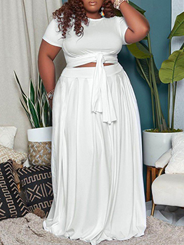 Chic Solid Plus Size 2 Piece Skirt Set