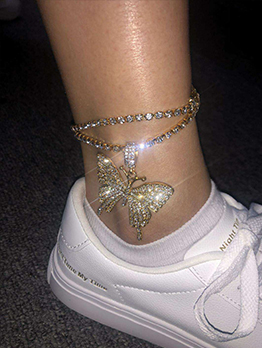 Fashion Butterfly Rhinestone Alloy Anklet