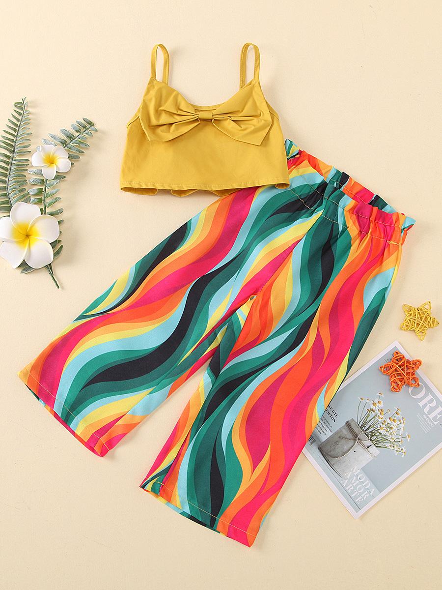 Summer Colourful Print Long Pants Girl Clothing Sets