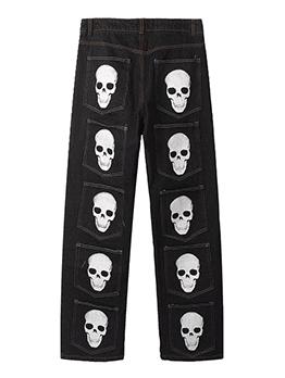 Trendy Street Pockets Skull Printed Men Jeans