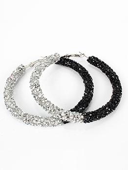 Fashion Simple Contrast Color Rhinestone Round  Hoop Earrings