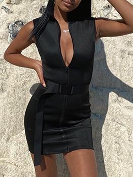Attractive Plain Black Zipper Up Sleeveless Tight Dress