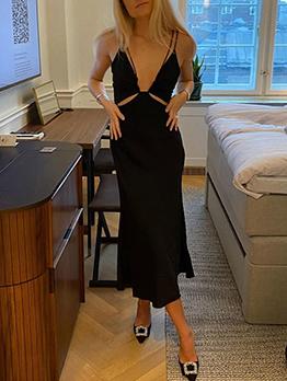 Sexy Plain Black V Neck Sleeveless Maxi Dress