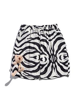 Zebra-Stripe Casual Teenagers Drawstring Short Pants