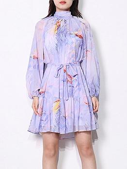 Mock Neck Printed Chiffon 2 Piece Dress