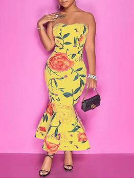 Charming Pretty Print Strapless Maxi Dress