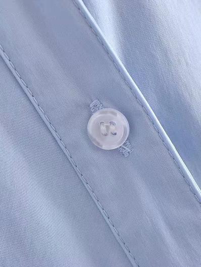 Characteristic Plain Blue Tie-Wrap Long Sleeve Blouse
