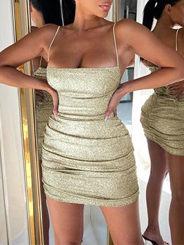 Boat Neck Ruched Camisole Sleeveless Mini Dress