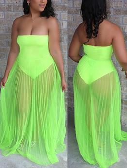 Sexy Gauze Patchwork Strapless Maxi Dress