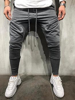 Summer Pure Drawstring Pencil Pants For Men