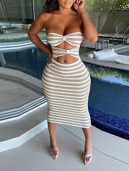 Sexy Striped Cutout Strapless Summer Dress