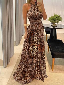 Summer Leopard Vacation Halter Maxi Dress