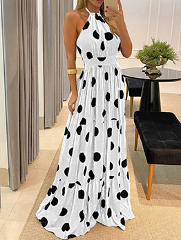 Bohemian Dot Contrast Color Casual Maxi Dress