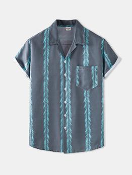 New Colorful Print Short Sleeve Beach Shirt