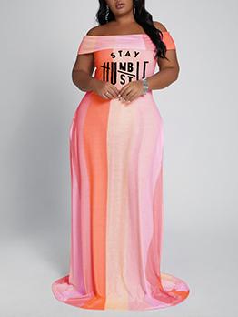 Contrast color Letter Plus Size Maxi Dresses