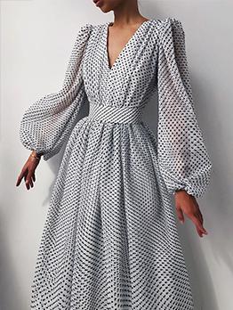 Elegant Puff Sleeve V Neck Ladies Maxi Dress