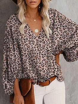 Fashion Leopard V Neck Lantern Sleeve Blouse